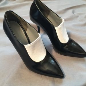 Alexander Wang B&W Patent Leather Heeled Booties